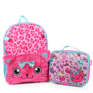 Kitty Glitter School Backpack & Lunch box Pink
